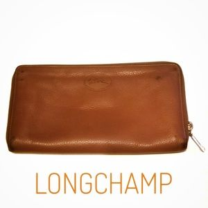 LONGCHAMP | Brown Leather Zippered Wallet